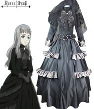 Envío Libre Negro Mayordomo Kuroshitsuji Reina Victoria Negro Lolita Vestido de Cosplay del Anime