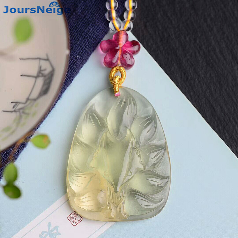 Wholesale Yellow Natural Crystal Pendants Carved Nine Tail Fox Pendant Sweater Chain Necklace Lucky for Women Crystal Jewelry недорого
