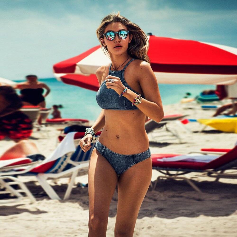 2016 new triangle adjustable strap high neck crop top bikinis set women swimwear plus size swimsuit