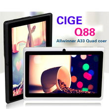 Большая скидка! 7 дюймов tablet Quad Core Q88 Allwinner A33 tablet Двойная Камера Android 4.4.2 512 МБ/8 ГБ tablet pc HOT