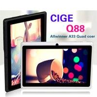 Descuento grande!! 7 pulgadas de la tableta de Q88 Allwinner A33 Quad Core tablet de Doble Cámara de Android 4.4.2 512 MB/8 GB tablet pc CALIENTE