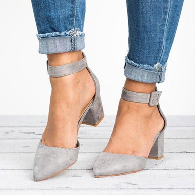 Women Ankle Strap Low Heels Sandals 1