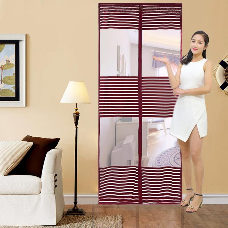 Summer Anti Mosquito Net Magnetic Tulle Door Curtain Stripes Insect Fly Bug Curtains Magnetic Mesh Net Automatic Closing Door