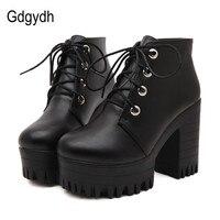 Gdgydh/брендовая Дизайнерская обувь, новинка 2019 года, весенне-осенняя женская обувь, черные ботинки на высоком каблуке, ботильоны на платформе ...