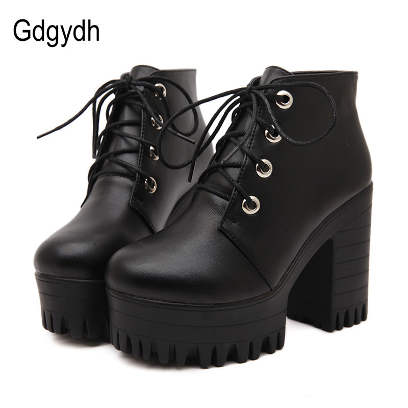 Gdgydh Brand Designers 2017 New Spring Autumn Women Shoes Black High Heels Boots Lacing Platform Ankle Boots Chunky Size 35-39 mcckle women high heels ankle boots female buckle slip on suede shoes woman platform spring autumn casual shoes black size 35 39
