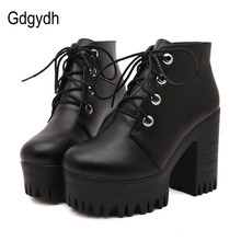 Free shipping 2015 new autumn shoes black ultra high heels thick heel boots lacing platform ankle boots women size 35-39 цены