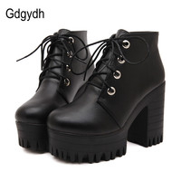 Free Shipping 2015 New Autumn Shoes Black Ultra High Heels Thick Heel Boots Lacing Platform Ankle