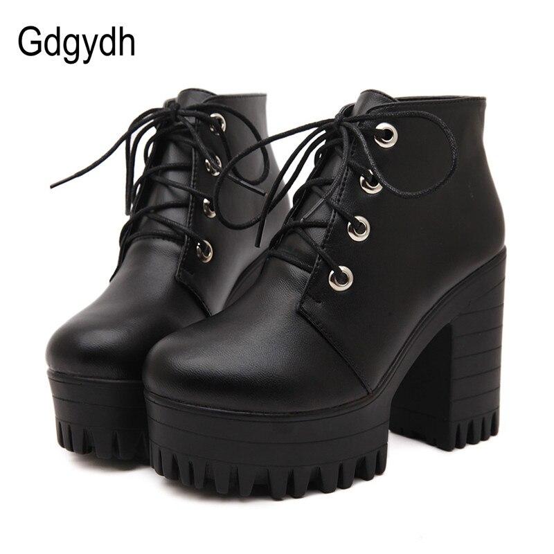 Gdgydh los diseñadores marca 2018 nueva primavera otoño zapatos de mujer negro zapatos de tacón alto botas de cordones botas del tobillo de la plataforma grueso tamaño 35 -39