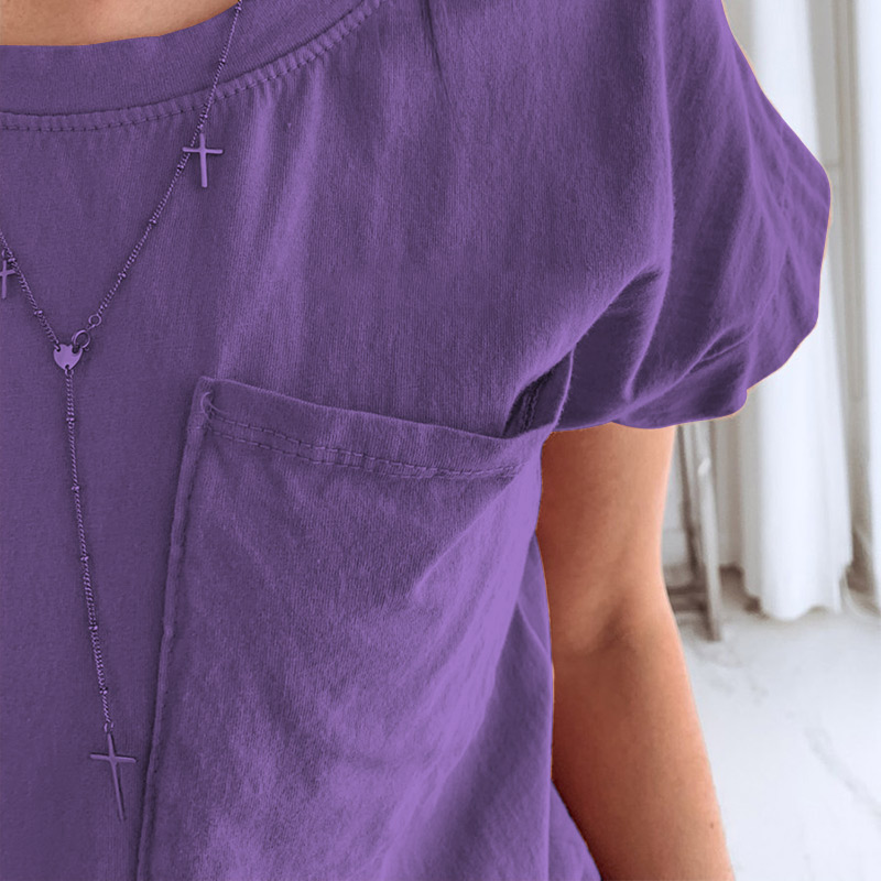 100% Cotton Short Sleeve Purple Women's T-shirts Soft Pocket Female Tees Shirts 2019 Summer Fashion Casual Loose Ladies Tops 1