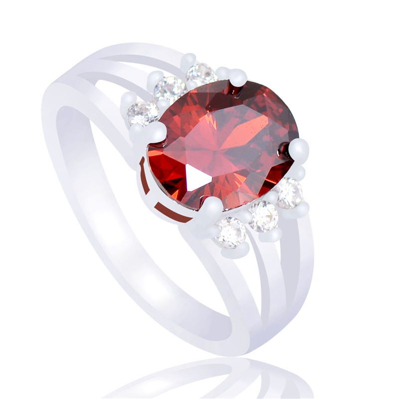 H:HYDE Fashion jewelry Silver Color Rings red cubic Zirconia charming sweet lady wedding and engagement party ring size 6-10