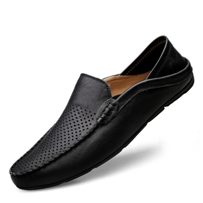 HTB1jdAJLrvpK1RjSZFqq6AXUVXaH Italian Mens Shoes Casual Luxury Brand Summer Men Loafers Genuine Leather Moccasins Light Breathable Slip on Boat Shoes JKPUDUN