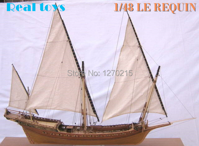 Classic wooden sailing boat assembled set 1/48 LE REQUIN 1750 sail boat model 1pcs (shicheng)Classic wooden sailing boat assembled set 1/48 LE REQUIN 1750 sail boat model 1pcs (shicheng)