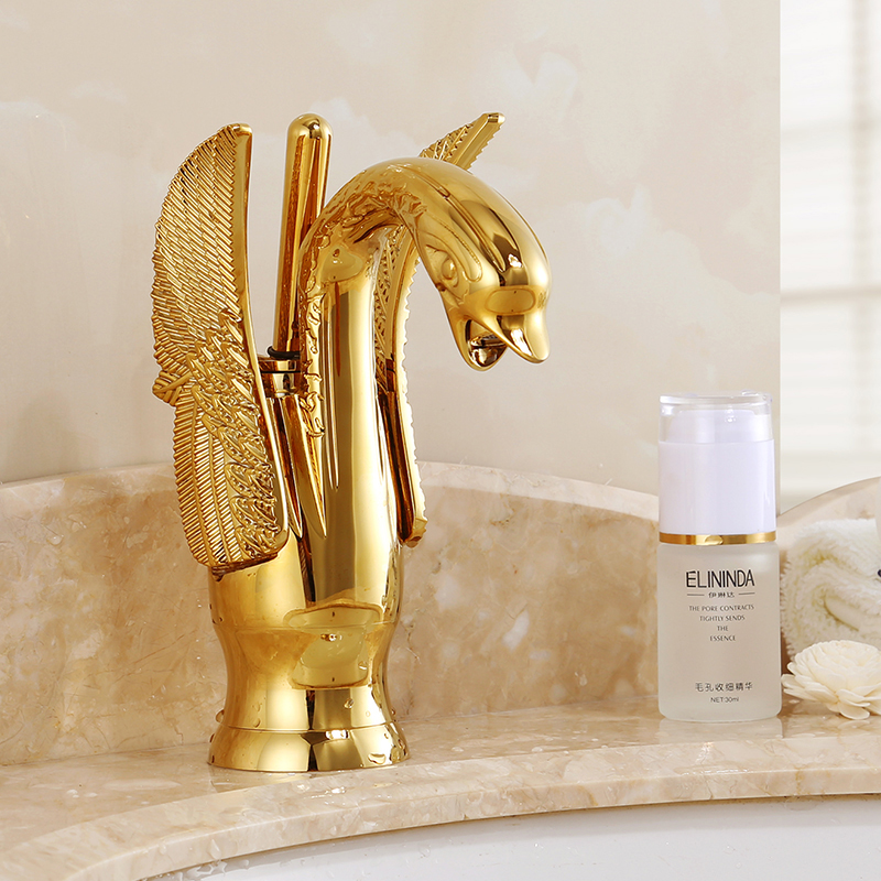 Gold Single Tap waterfall Sink Faucet Bathroom Swan Goose Faucet Vintage Antique Brass 80mm Inlet Y потолочная многофункциональная система обогрев вентиляция свет hy swan goose
