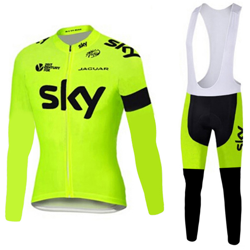 ФОТО Fluorite sky cycling jersey cycling pants sets of spring 2017 long bike clothing MTB Ropa Ciclismo bicycle tights divided skirts