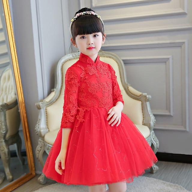 7868c2398 Girl Red Flower Children Wedding Cheongsam Kids Piano Princess Dress  Traditional Chinese New Year Costume Modern Qipao Lace