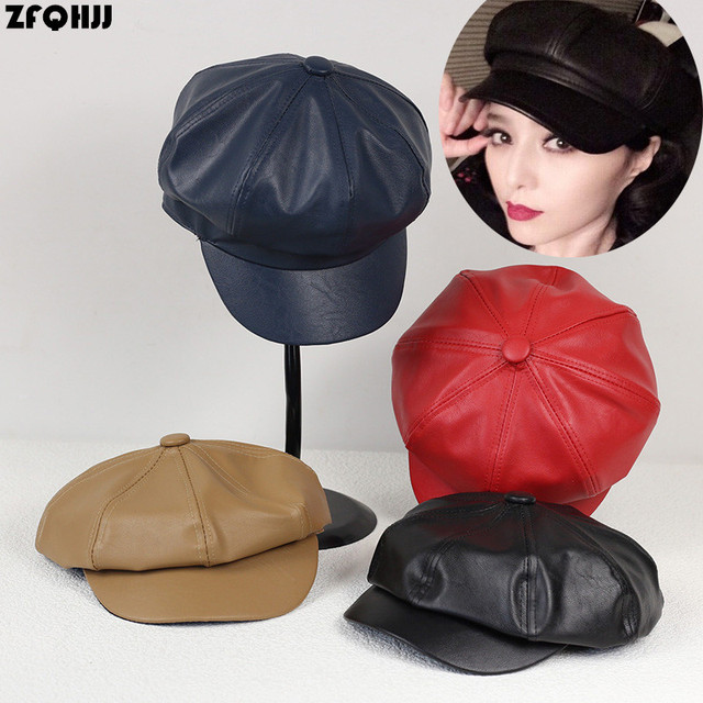 ZFQHJJ 2017 New arrvial Fashion Women PU Leather Octagonal Caps Newsboy Cap  Vintage Bonnet Beret Style Retro Leather Hat Cowboy 91507a96d33b