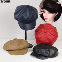 ZFQHJJ 2017 New Arrvial Fashion Women PU Leather Octagonal Caps Mens Cap Vintage Bonnet Beret Style