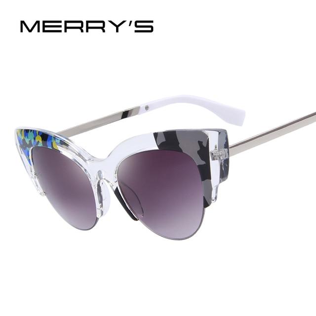 MERRY'S Women Cat Eye Sunglasses Vintage Brand Designer Jungle Fashion Sunglasses Half Frame S'8034