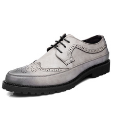 Men Brogue Fashion Oxford Dress Shoes Male Well-dressed Gentleman Handcrafted Footwear for Modern Leather