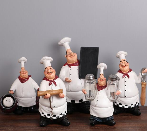 1Pc American Style Resin Chef Figurine Creative White top hat Cook ...