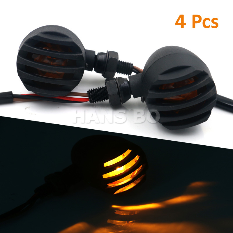 4PCS 12V 5W Metal Bullet Black Amber Bulb Light Motorcycle Turn Signal For Harley Suzuki KAWASAKI Modification Parts