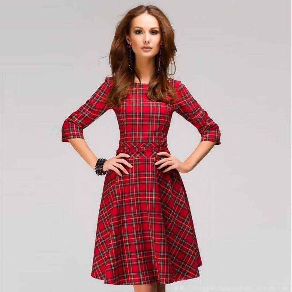 e5d72cf0b Otoño caliente mujeres Casual Plaid rojo Mini Vestidos elegante de tres  cuartos de manga o-