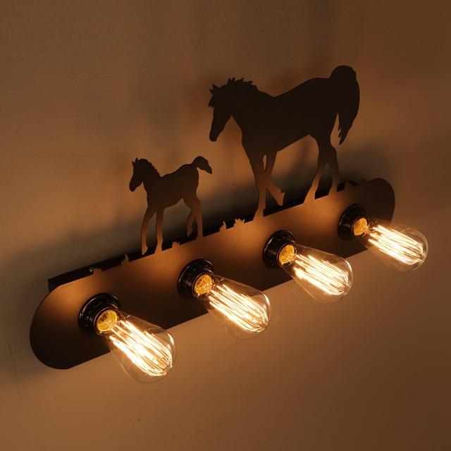 Loft Edison Industriële Spiegel Wandlampen 4 Hoofd Zwart Grote Pony ...
