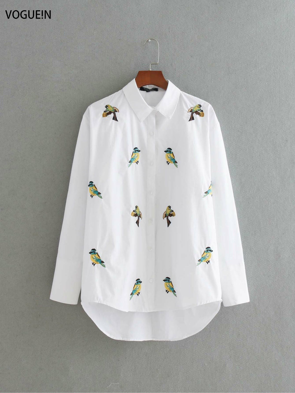 VOGUEIN New Womens Ladies White Animal Bird Embroidered Long Sleeve Blouse Tops Shirt Size SML Wholesale