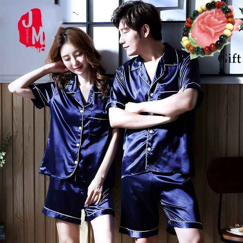 4a29c10a90 Summer Short Silk Pajama Set For Man And Women Solid Satin Pyjamas Suit  Couples Sleepwear Women