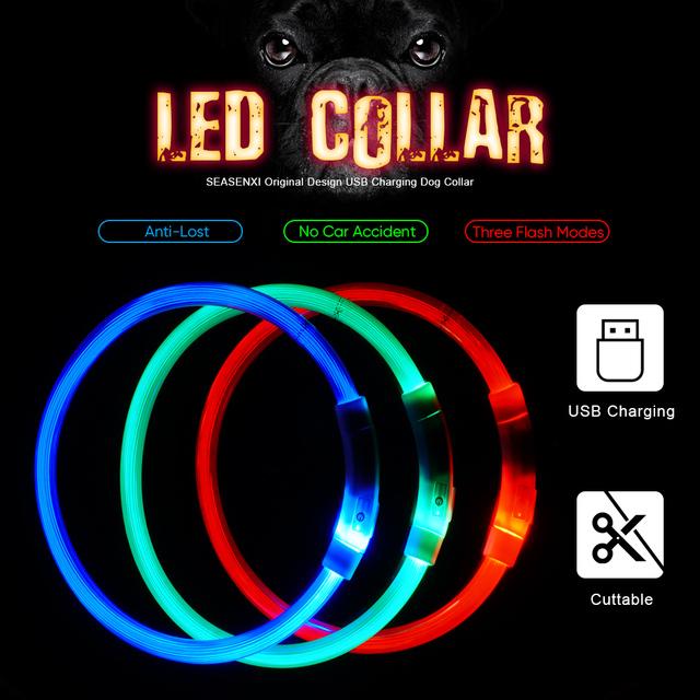 USB Charging Luminous Dog Collar At Night Safe Glossy Collar