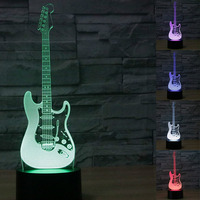 3D Music Electric Guitar Night Light Touch Table Desk Optical Illusion Lamps 7 Color Changing Lights