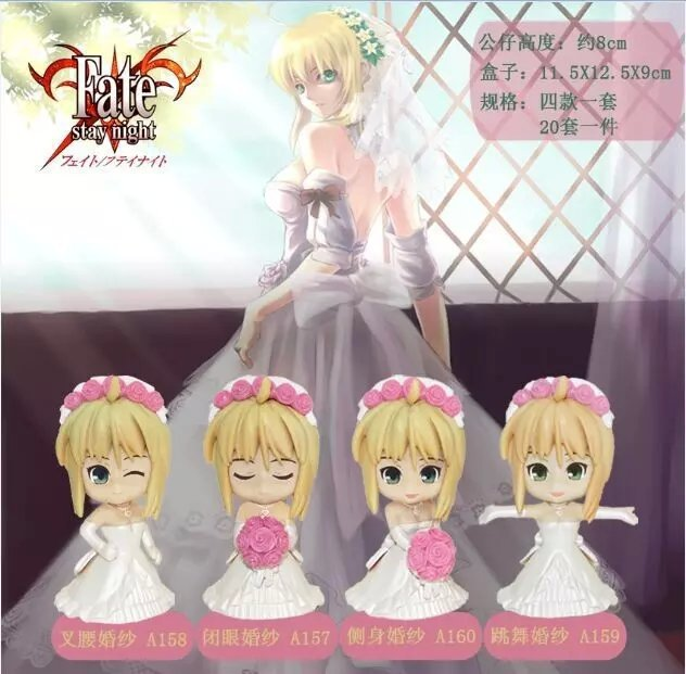 4pcs/set Fate Stay Night Saber Wedding dress Action Figures PVC Collection Figures toys for christmas gift