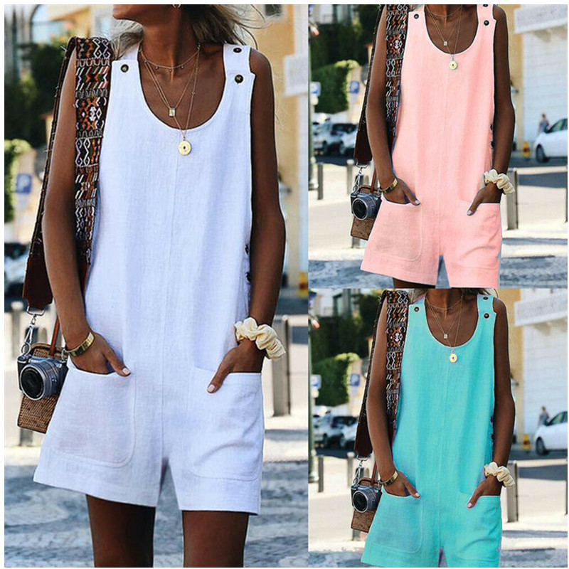 2019 New Women Wide Leg Short Pants Playsuits Bohemian Style Casual Solid Linen   Jumpsuits   Ladies Sexy Bodysuits Beach Wear W3