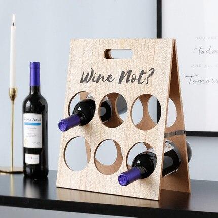 Support de Table décoratif créatif en bois de porte-bouteille à vin de casier à vin de trou rond
