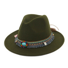 Hot Women Jazz Caps Hats Bohemia Style Woolen Hats for Spring Summer Beach DO2 недорого