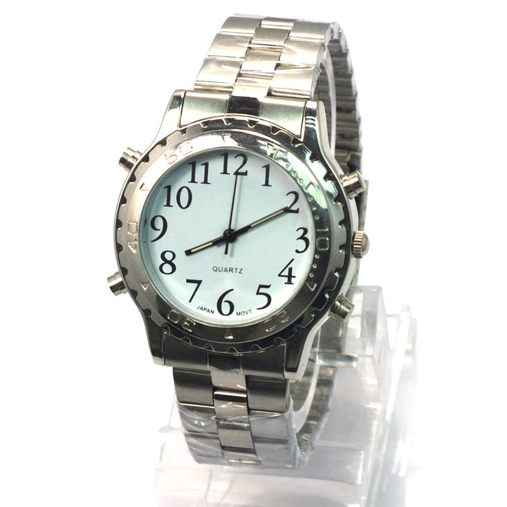 High Quality English Talking Clock Stainless Steel For Blind Or Visually Impaired Watch Men Women Digital Number Wristwatch