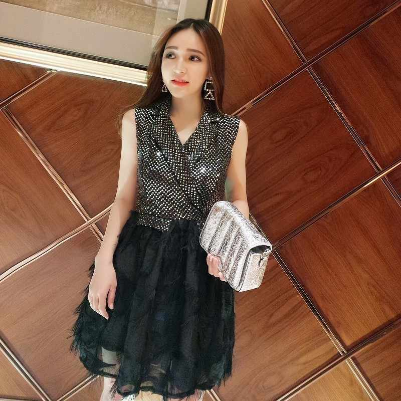 c28c884a1e MUXU Summer New Sleeveless Feather fringe party Dress sexy women sequin  glitter short fashion vestido black ladies dresses jurk