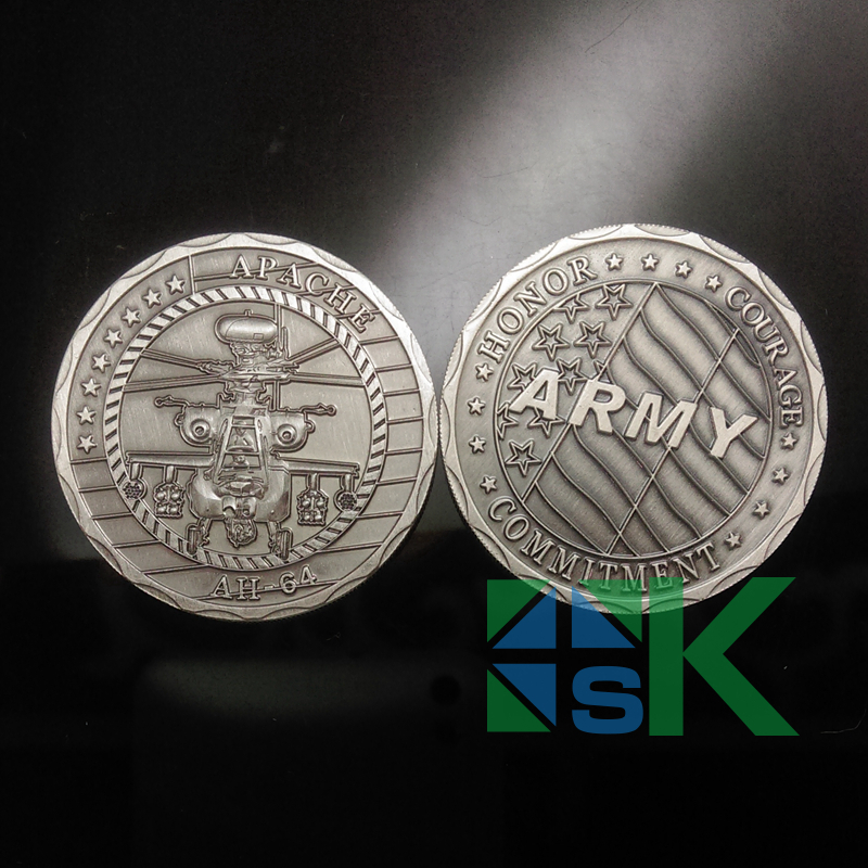 New Arrival 50pcs/Lot Apache Helicopter AH64 Army Challenge Coin of United States Silver Plating Coins