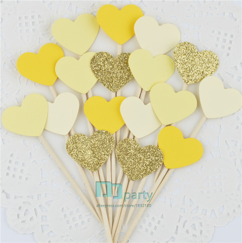 40pcs glitter Gold yellow hearts Cupcake Toppers wedding food toothpicks birthday baby bridal shower party food picks cake decor