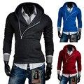 Hombres libres del envío chaquetas sólido diagonal cremallera Con Capucha Sudaderas de diseño de moda de alta calidad ocasional 5 color tamaño M-XXL
