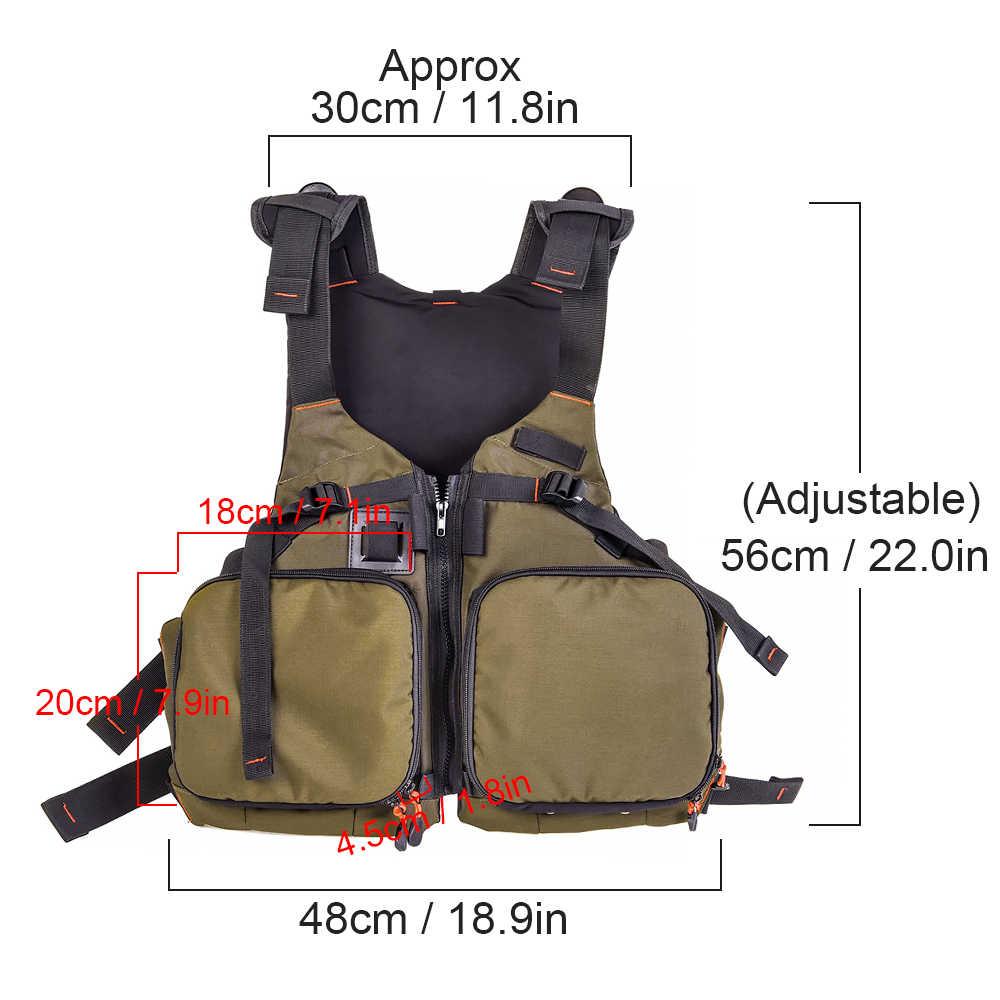 Blusea Fly Fishing Life Vest Pack Breathable Kayaking Fishing Life Jacket Safety Waistcoat Survival Utility Vest