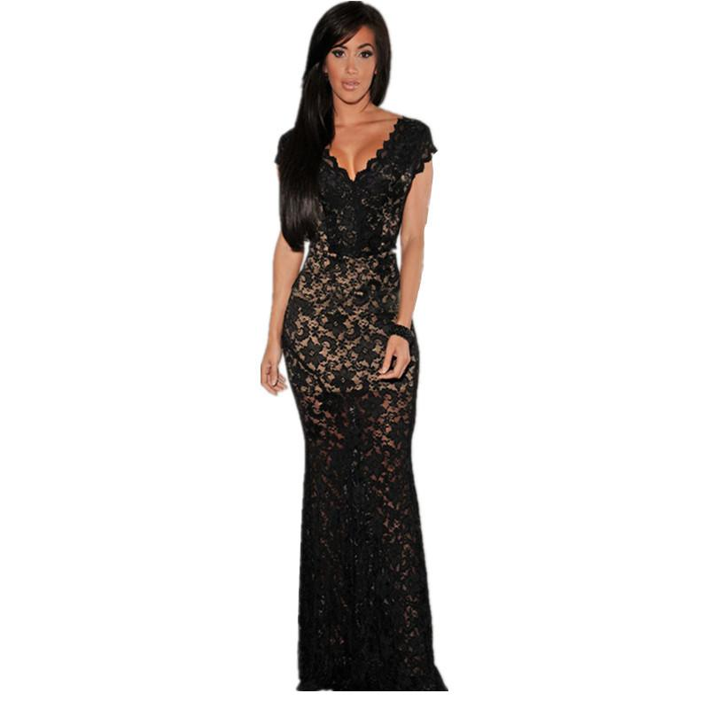 Orchid black red lace wedding guest nude illusion low back for Wedding guest lace dresses