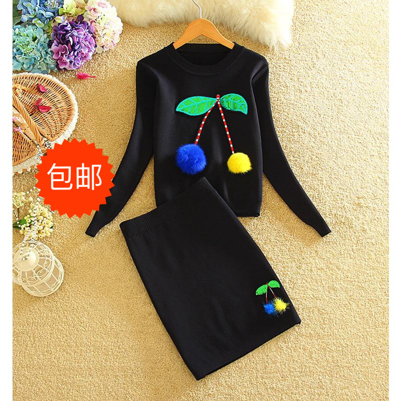 Tracksuit New 2 Piece Set Suit Winter Pullover Sweater European Sequin Package Hip Leisure Crop Top And short dress new