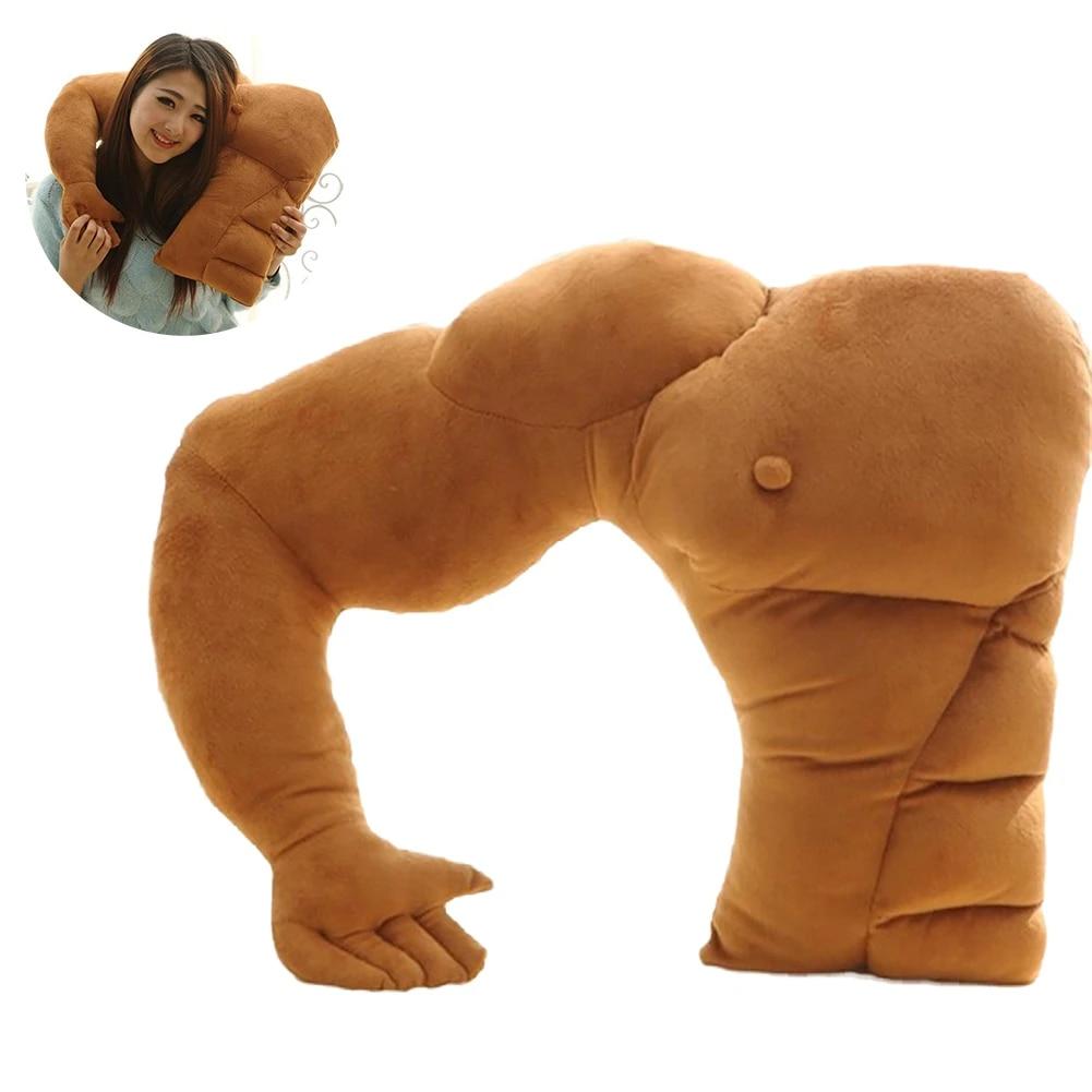 muscle man body arm plush cotton pillow boyfriend pillow husband pillow for home office dorm decoration 23 x 19 inch as shown