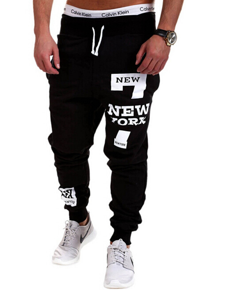 Hot Sale 2015 New York Fashion Number 7 Print Men Pants Long Sweatpants Quality 3XL Mens Joggers Sport Gymshark In Skinny From