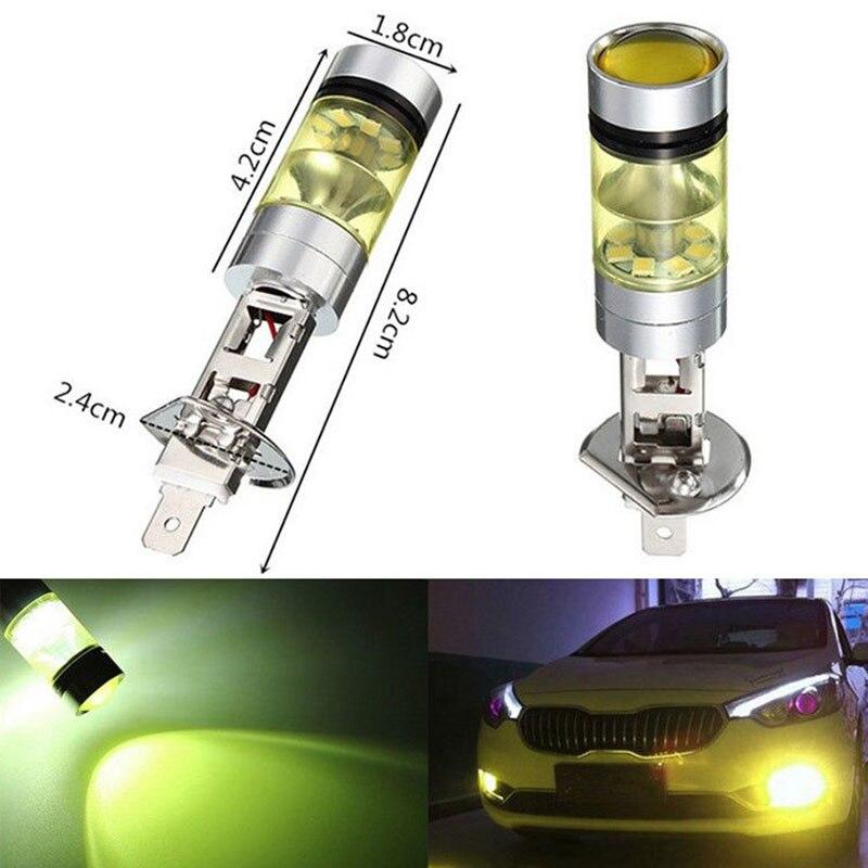 2PCS High Power LED Fog Driving Light Lamp Bulb H1 LED Fog Light Lamp LED 100W DRL 20SMD2835 Yellow Light Headlight Kit 2019 New