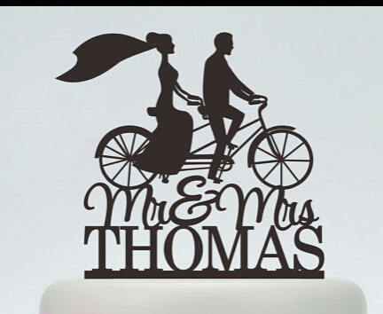 Acrylic Wedding Cake Toppers Running Bicycle S Custom Bride Groom Name And Date Engagement Bridal Shower Party Decorations