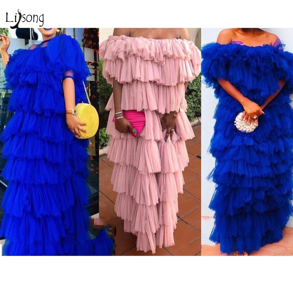 2019 Fashion Ruffles Tiered Tulle Log   Prom     Dresses   Royal Blue High Street   Prom   Gowns Off The Shoulder Robe De Soiree Longue