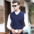 2016 Последние дизайн V шеи сплошной цвет мужские без рукавов вязать свитер жилет