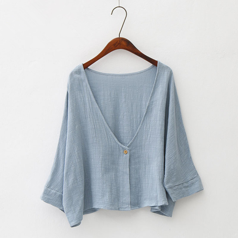 Women Bat Sleeve Cardigan Shawl Tops Shirt Summer Autumn Cotton Linen Thin Soft Anti UV Sunscreen Short Loose Cloak Jackets Coat